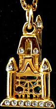 Disney park arribas bros princess Cinderella castle blue gold crystal necklace