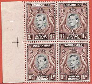 KUT 1942 1c black & chocolate-brown left marginal block of 4 GVI sg 131a MNH