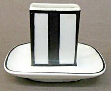 ceramic black & white Art Deco MATCH BOX holder  MINT