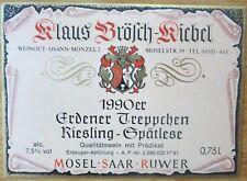 Etiquettes vin ALLEMAGNE Klaus Brosch-Kiebel ERDENER TREPPCHEN 1990 wine labels