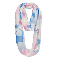 Infinity Scarf Lilia Galloping Horse Ivory with Pink and Light Blue Horses