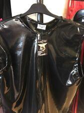 "Misfitz black rubber latex Zip vest top Size XXXL.  chest 52-54"" fetish"