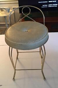 Vintage George Koch Sons Vanity Stool Seat Beige Tan Vinyl