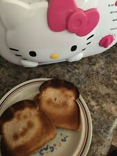 Hello Kitty 2 Slice Wide Slot toaster Face Imprint Used Working Works