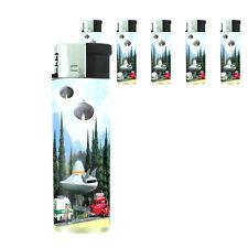 Vintage Alien Abduction D3 Lighters Set of 5 Electronic Refillable Butane