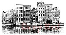 Deep Red Stamps Amsterdam Waterfront Rubber Cling Stamp