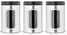 BRABANTIA KITCHEN 3 PIECE WINDOW CANISTER COFFEE TEA SUGAR SET 1.4L MATT STEEL