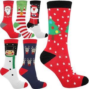 WOMENS NOVELTY XMAS SOCKS CHRISTMAS FESTIVE STOCK ASSORTED MIX UK 4-7 EUR 35-39
