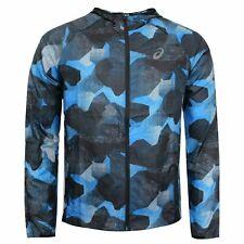 Asics Mens Sports Hooded Windbreaker Printed Jacket Camo Blue 152409 1175