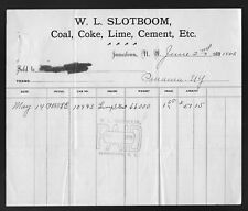 1903 W. L. Slotboom Jamestown, NY Coal Coke Lime Cement etc Billhead