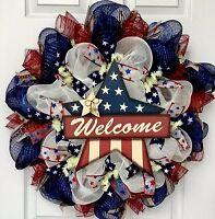 Patriotic Welcome Star Handmade Deco Mesh Wreath