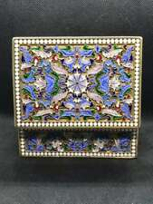 Antique Russian Imperial Cloisonne Enameled Silver 84 Jewellery Box