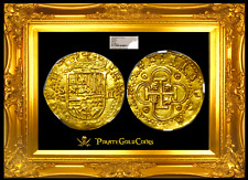SPAIN 1556-1598 2 ESCUDOS NGC 62 FULL CROWN DOUBLOON COIN GOLD COB TREASURE