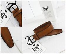 NUEVO LEE 101 GRAN Cinturón Cuero Hebilla marrón / NEGRO talla 95/W33 W34/L