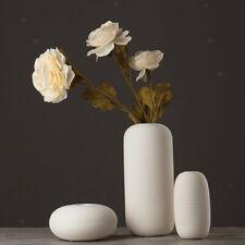 White Vase Shabby Ceramic Flower Vase Solid Pot Tabletop Ornament B