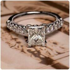 14K White Gold Over 2.23 Ct Princess Diamond Gorgeous Solitaire Engagement Ring