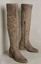 NIB Anthropologie Sey taupe tan Distressed Suede Studded Over The Knee Boots 6