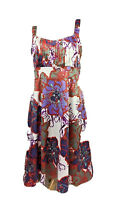 Diana Ferrari Size 12 Sheath Dress w Pin tuck Bust Flared Skirt Purple Orange +
