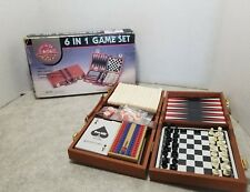 Vintage 6 in 1 Game Set Chess Checkers Dominos Cribbage Backgammon Cards!  NIB!