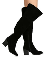 Breckelles Women Faux Suede Over The Knee Pointy Toe Block Heel #Indiana-13