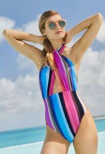 La Blanca OVER THE HORIZON Swimsuit Tummy Control Wrap Front Keyhole Size 12 NWT