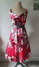 Ladies Size 16 Red Silk Evening Cocktail Summer Party Dress By Monsoon