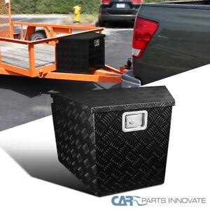 "29"" Black Tongue Heavy Duty Aluminum Tool Box Truck Storage Trunk Trailer+Lock"