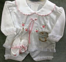 Girls 3 pc.100% cotton Take Me Home Set with long sleeve top & Pants & Booties