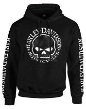 Harley-Davidson Men's Hand Made Willie G Skull Pullover Hooded Sweatshirt, Black