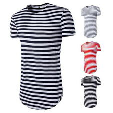 Fashion Men Longline Curved Hem T-shirts Tops Street Striped Long Body Tall Tee