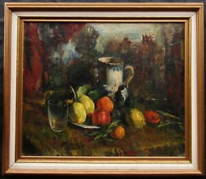 LISTED Rubens Capaldo OLD Expressionist Fruit Still Life Oil Painting NO RESERVE
