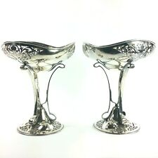 Mappin and Webb Footed Silverplate Pierced Compote Set