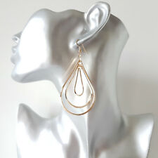 Gorgeous 7cm long gold tone graduated TEARDROP metal multi hoop drop earrings