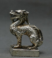 Old Ancient China Miao Silver Dragon Beast Dynasty imperial Seal Stamp Signet