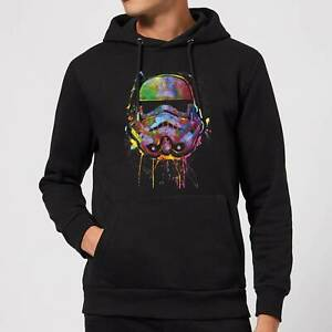 OFFICIAL Star Wars Paint Splat Stormtrooper Pullover Hoodie Black size large