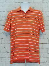 Brooks Brothers Mens Performance Polo Shirt Size Medium Orange Green Stripe Golf