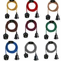 2M Fabric Flex Cable UK Plug In Pendant Lamp Light Set E27 Bulb Holder+ switch