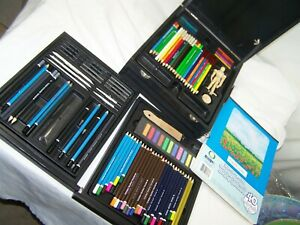 Artist pencils Colors set and charcoal includes one pad paper wooden box