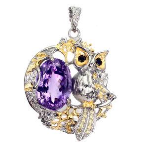 Handmade Clean Natural Purple Amethyst 33 Ct Sapphire 925 Silver Owl Big Pendant
