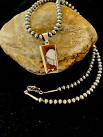 Navajo American Sterling Silver Crazy Horse Turquoise Necklace Pendant Gift 4218