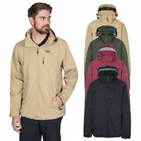 Trespass Weir Mens Waterproof Jacket With Hood Breathable Rain Coat Check Lining