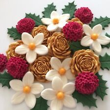 LOVE CHRISTMAS BOUQUET Edible Sugar Paste Flowers Cup Cake Decorations Toppers