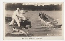 Canada, I Am Catching Big Fish at Lake Louise Fantasy Real Photo Postcard, B174