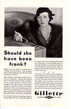 Vintage ad Print 1932 Gillette Razor Blades frank shaving White Rock Water