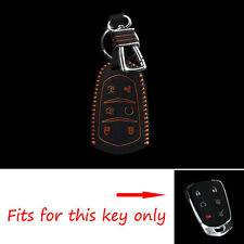 For Cadillac Escalade ATS 6BT Smart Remote Key Case Leather Holder Chain Cover