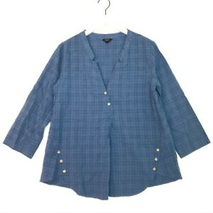 Floryday anthropologie long sleeve plaid top blue size small s button