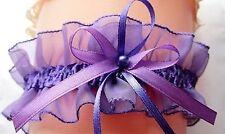 perles Jarretière Violet / violet avec BIJOUX RUBAN ORGANZA SATIN mariée UE