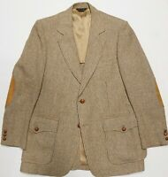 Vtg Pendleton Tweed Gun Check Leather Suede Elbow Patch Pocket Coat Unlined