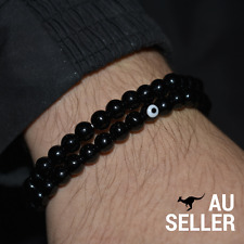 Mens Evil Eye Mati Nazar Black Obsidian Bead Stretch Bracelet