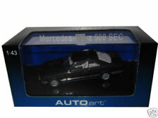 MERCEDES 500 SEC W126 BLUE/BLACK METALLIC 1/43 MODEL CAR BY AUTOART 56211